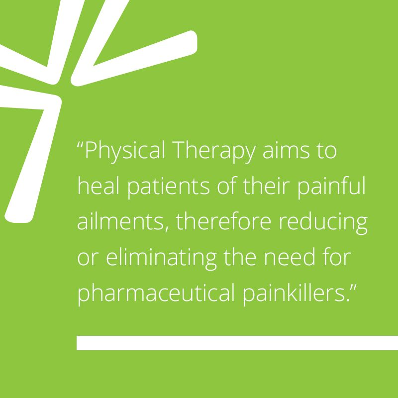Physical Therapy aims to heal patients of their painful ailments, therefore reducing or eliminating the need for pharmaceutical painkillers.